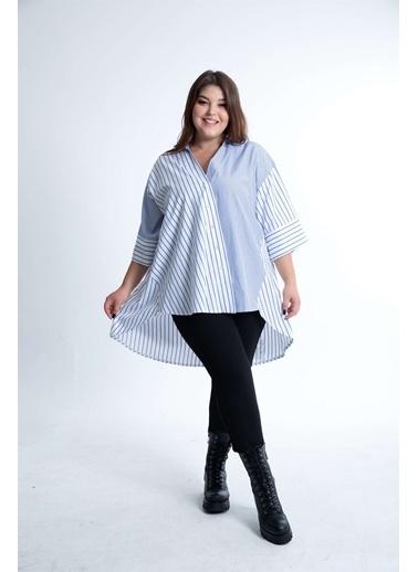 Luokk Otto Asimetrik Kesim Oversize Kadın Gömlek Mavi Beyaz Çizgili Mavi